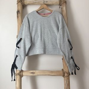 Lace up Sleeve Cropped Crew Neck